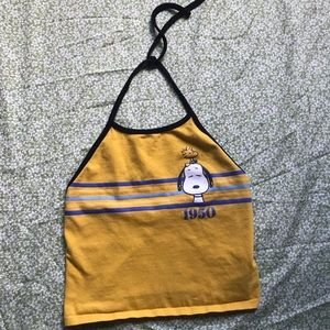 Yellow snoopy crop halter top